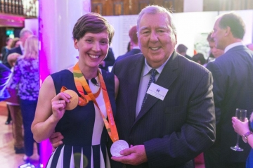 Peter Harrison congratulates Crystal Lane-Wright (then Crystal Lane) at the 2016 Paralympic Games